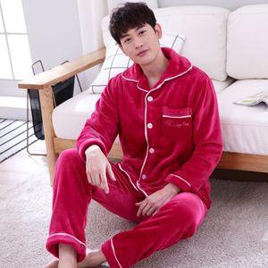 PYJAMA Nouveau pyjama pour hommes en polaire épaissie hiv