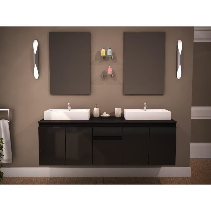 como ensemble salle de bain double vasque 150cm achat vente ensemble meuble sdb como double. Black Bedroom Furniture Sets. Home Design Ideas
