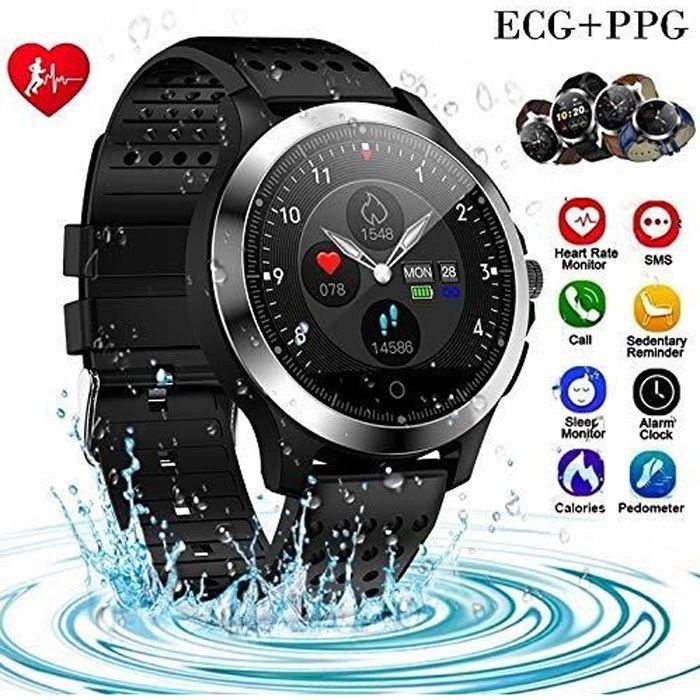 Montre Intelligent de Sport Homme, Smartwatch avec ECG/PPG de Mesure de Fréquence Cardiaque de Pression Artérielle, IP67 Etanche