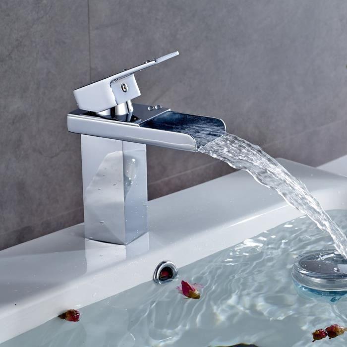 Robinet de lavabo Mitigeur D'évier Cascade Salle De Bains Chrome/Style brillant et design élégant
