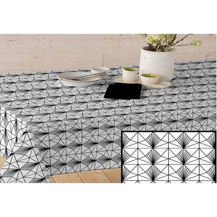 ART2LATABLE NAPPE EN TISSU ENDUIT 140 GRAFIC BLANC - forme:NAPPE RECTANGLE 140x300 CM