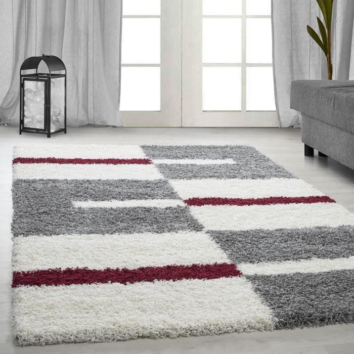 Designer haute fleuri tapis Shaggy placage lignes motif gris blanc rouge [140x200 cm]