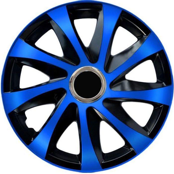 Enjoliveurs de roues DRIFT EXTRA noir et bleu 14' lot de 4 pièces