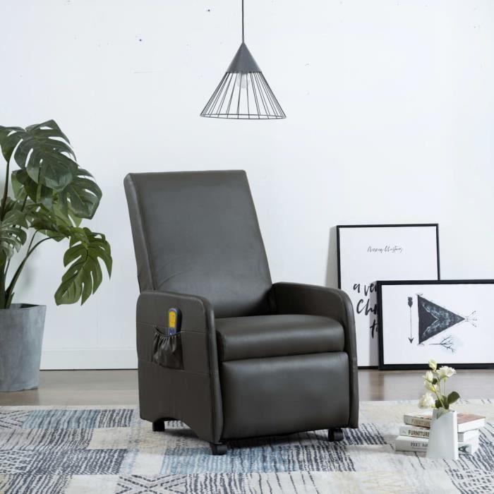 Fauteuil Relax Inclinable Électrique - Fauteuil de Massage - Avec Fonction de Chauffage - Gris Similicuir - 65 x 83 x 101 cm