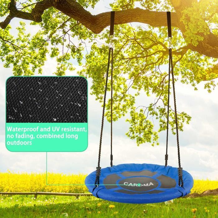 Balancoire Nid d'Oiseau pour Enfant-Charge Maximale 150kg-Grand diamètre: 100cm-étanche-Suspendu Corde Réglable Bleu-CAROMA