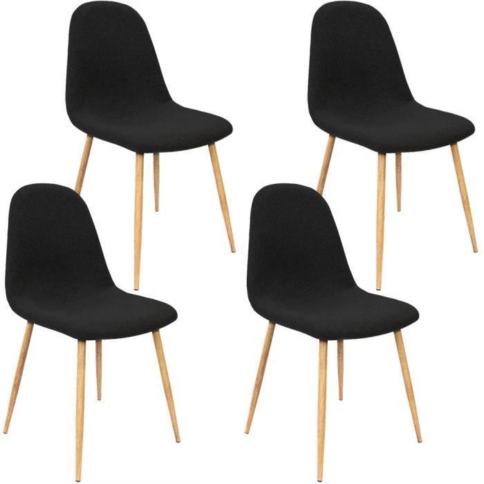 Lot de 4 Chaises Design avec revêtement en tissu - Noir - Tendance et moderne