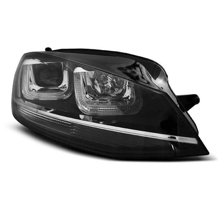 Paire de feux phares VW Golf 7 12-17 Daylight led U-type noir avec ligne chrome (WM1)