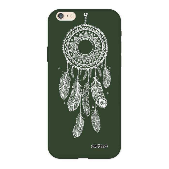 Coque iPhone 6/6S Silicone Liquide Douce vert kaki Attrape reve blanc Ecriture Tendance et Design Evetane.