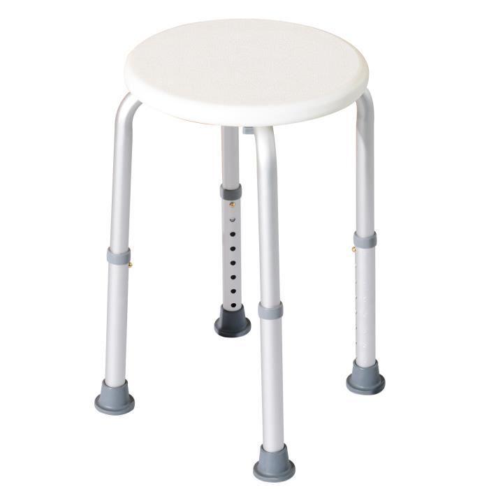 Tabouret de douche réglable en hauteur siège de douche ergonomique pieds antidérapants charge max. 136 Kg alu HDPE blanc
