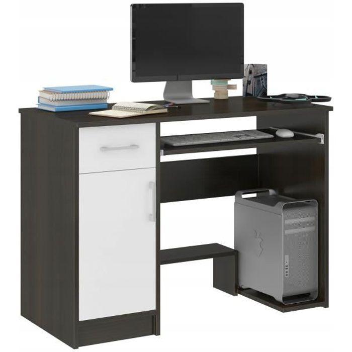 LONDON - Bureau moderne informatique d'ordinateur 90x50x73 - Support clavier Niche ordinateur - Wengé Blanc