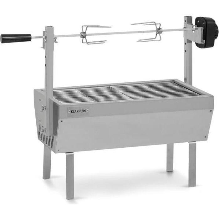 Klarstein Sauenland Mini Grill - Brochette de rôtissoire, Charge max. : 12 kg, Réglable en hauteur, acier inoxydable - Argent