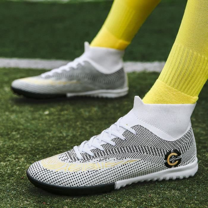 Chaussures de football pour hommes Chaussures de football avec chaussures hautes pour le sport Blanc