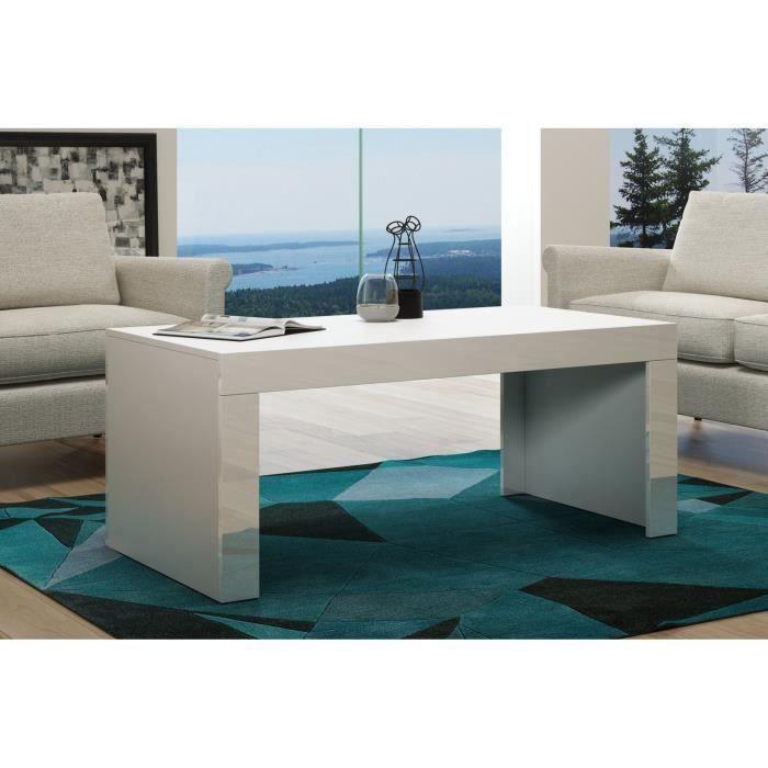 Table basse en MDF Blanche mat et bordure laquée 120 cm