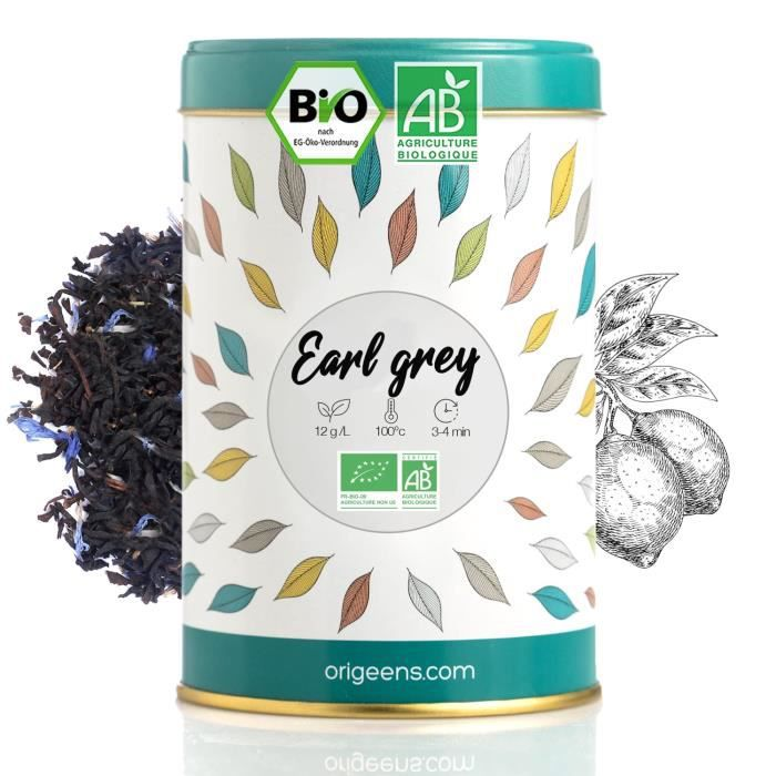 THE EARL GREY BIO 125g - Thé Earl Grey Bleu, thé en vrac - Thé Noir Bio, Arôme Naturel de Bergamote, Fleurs de Bleuet