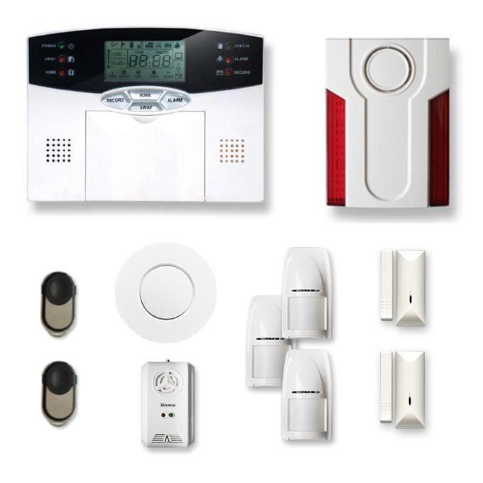 Alarme maison sans fil 2 à 3 pièces MN mouvement + intrusion + détecteur de fumée + gaz + Sirène extérieure - Compatible Box Interne