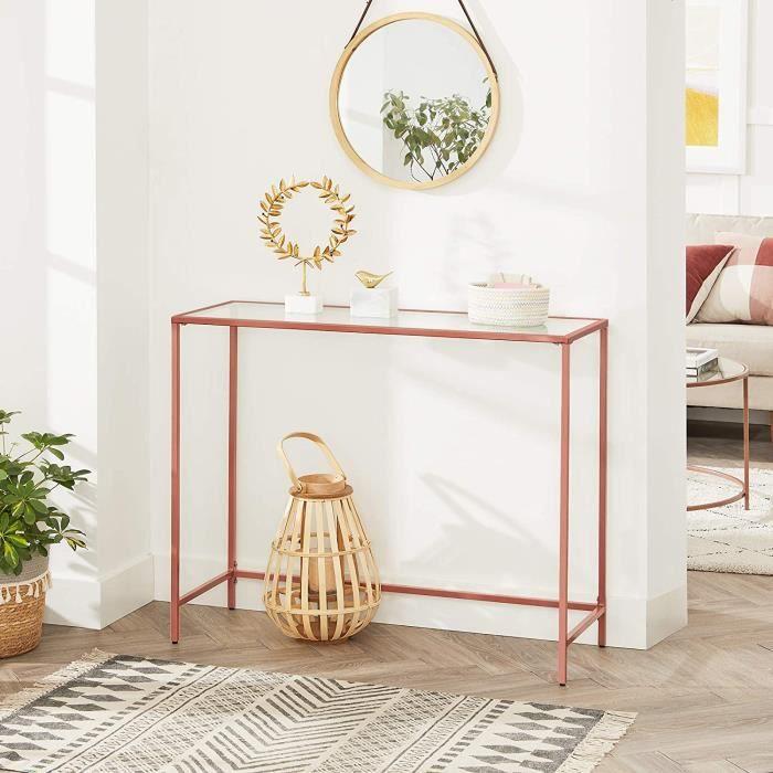 VASAGLE Table console, Table d'entrée, Dessus de Table en Verre trempé, cadre métallique, pieds réglables, Rose Gold LGT026A02