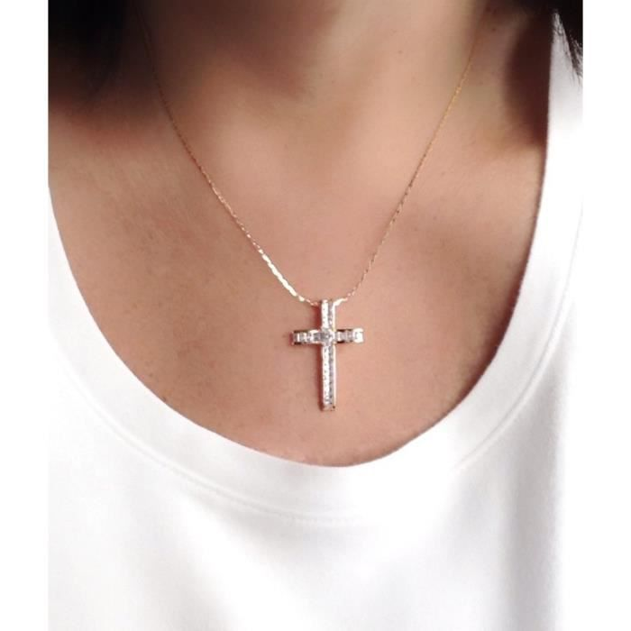 collier croix femme or rose