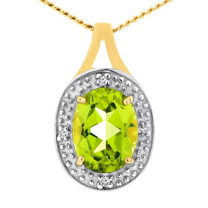 Pendentif - Femme - Or Jaune (9 Cts) 1.49 Gr - Peridot - Diamant Z8P0R