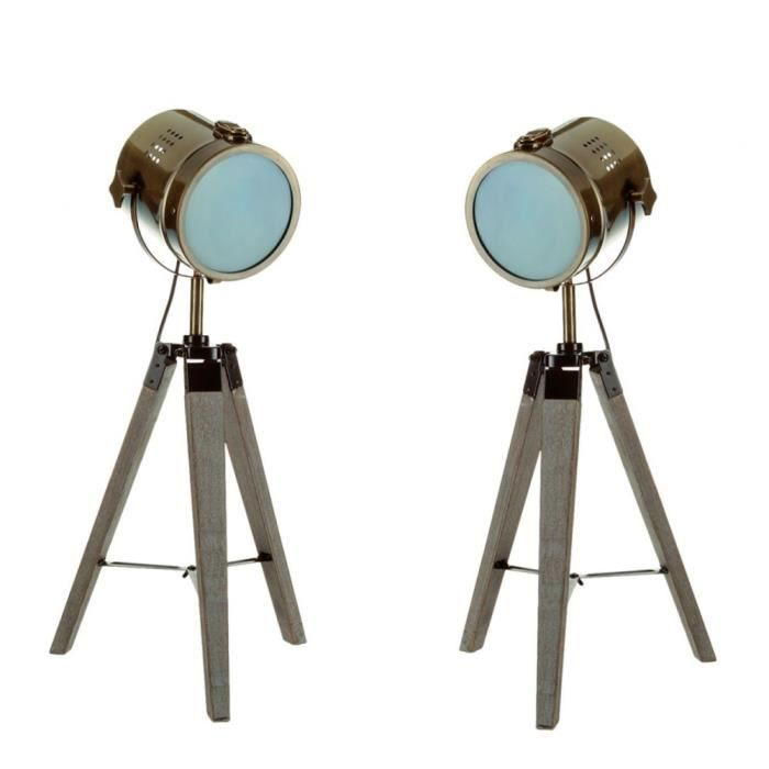 Lot De 2 Lampe Projecteur Design Vintage Et Retro En Metal Style