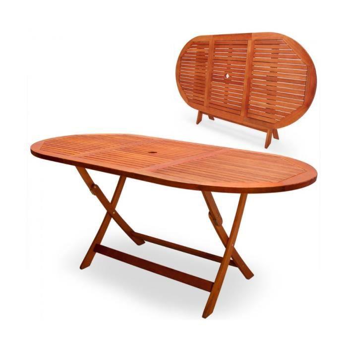 Superbe Table de jardin pliable Alabama en bois d\'Eucalyptus ...