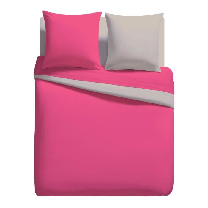 parure linge de lit housse de couette 200cm x 200cm 2 to 63 cm x 63 cm unie bicolore fuschia. Black Bedroom Furniture Sets. Home Design Ideas