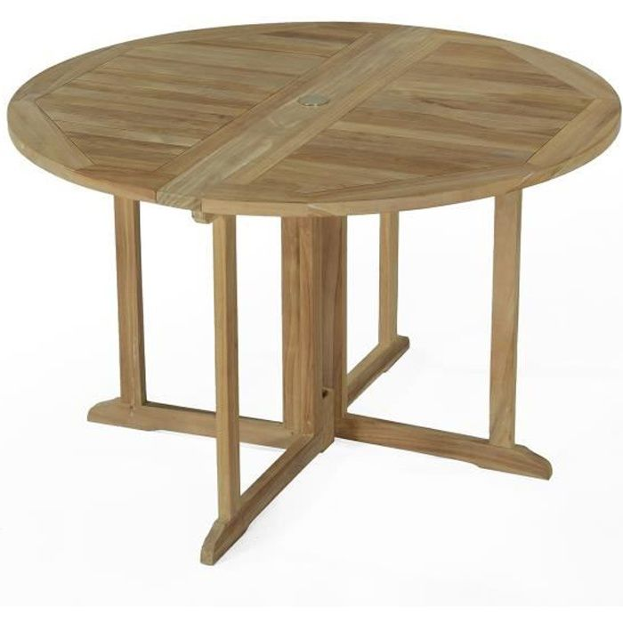 Table pliante ronde en teck ecograde domingue 120 cm - Table pliante teck ...