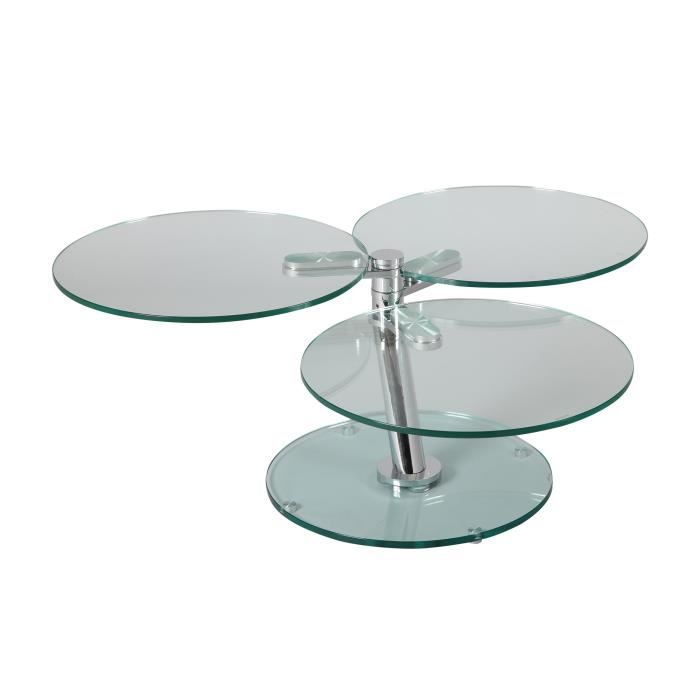 table basse 3 plateaux ronds en verre tremp glass achat vente table basse table basse 3. Black Bedroom Furniture Sets. Home Design Ideas