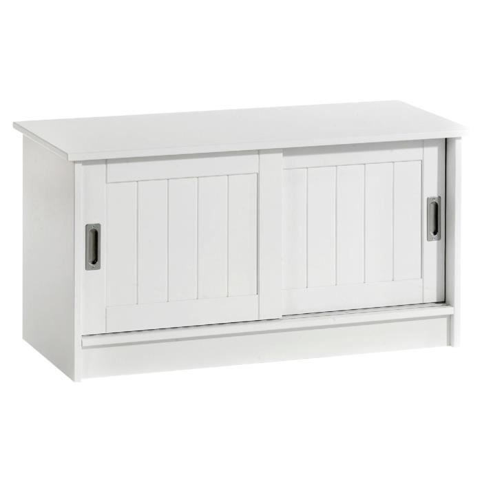 banc de rangement hein laqu blanc achat vente banc blanc cdiscount. Black Bedroom Furniture Sets. Home Design Ideas