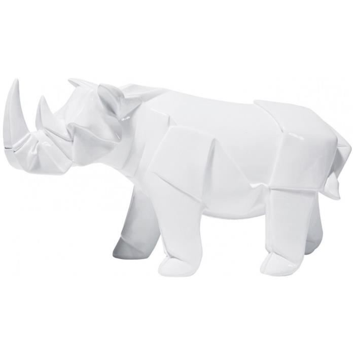 statue d co rhinoc ros origami blanc achat vente statue statuette polyr sine cdiscount. Black Bedroom Furniture Sets. Home Design Ideas