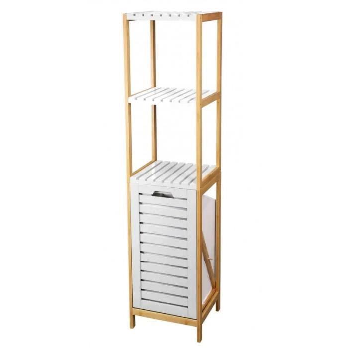 Etagere Salle De Bain Avec Panier A Linge Blanc Et Bambou 0 000000
