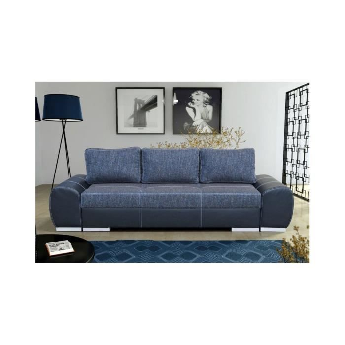 justhome agnes canap en cuir cologique bleu lxp. Black Bedroom Furniture Sets. Home Design Ideas