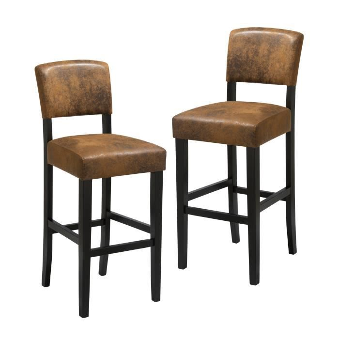 saloon lot de 2 tabourets de bar simili marron vintage contemporain l 45 x p 53 cm achat. Black Bedroom Furniture Sets. Home Design Ideas