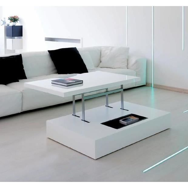 table basse ice cube plateau relevable blanc achat. Black Bedroom Furniture Sets. Home Design Ideas