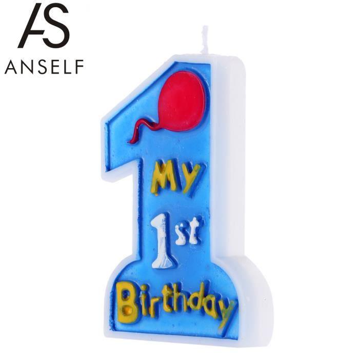 Bougie anniversaire 1 an bleue