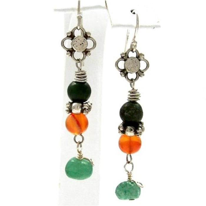 Craze Carnelian Earring Adventurine Rainforest Jasper orange Bali Ster Argent Dangle
