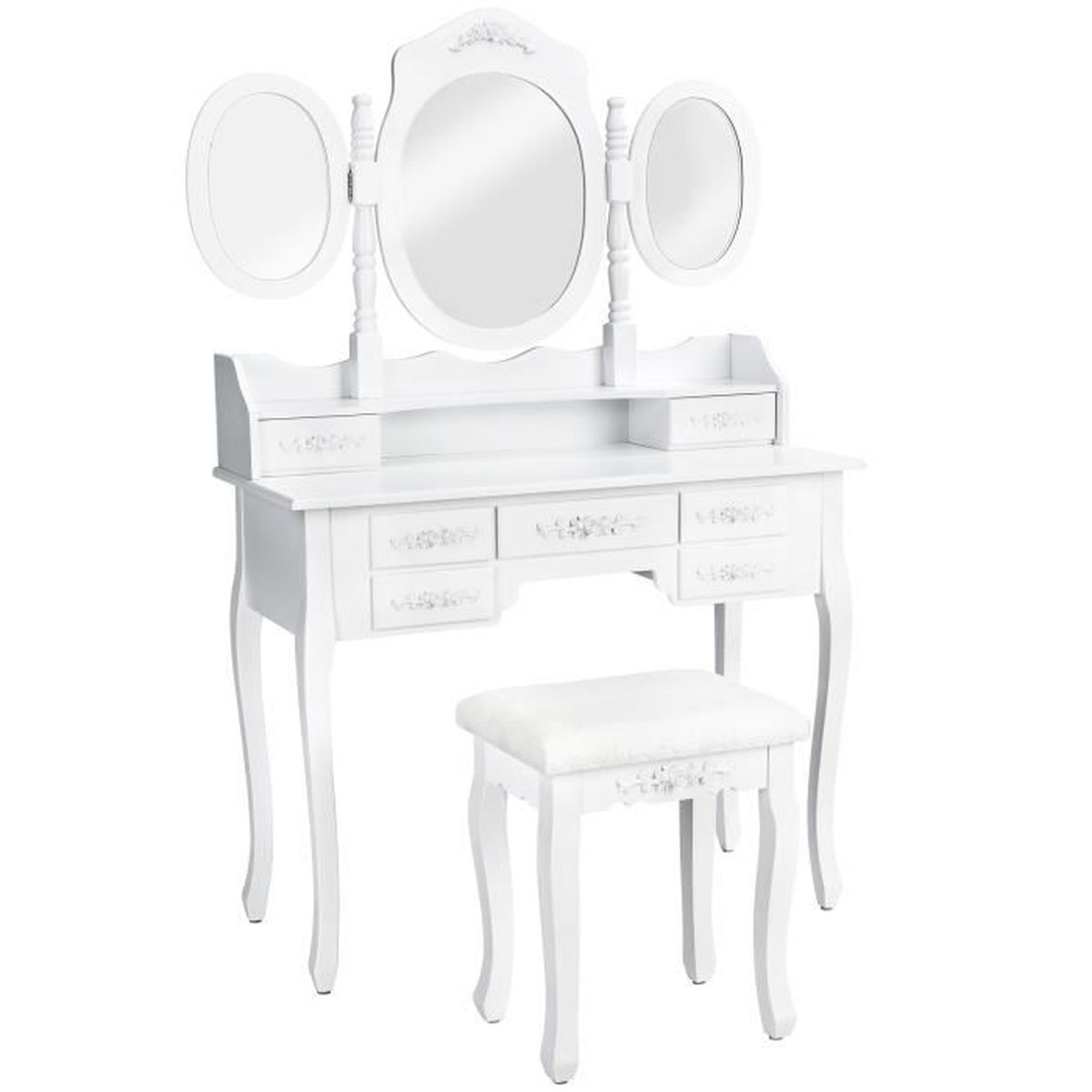 coiffeuse meuble table de maquillage secr taire commode avec miroir 3 faces rabattables et 7. Black Bedroom Furniture Sets. Home Design Ideas