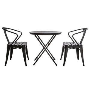 SALON DE JARDIN  Miliboo - Salon de jardin avec table pliable et 2