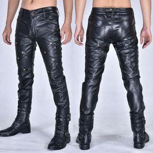 PANTALON Mode Punk Hommes En Cuir Pantalon Hommes Haute Éla