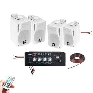 PACK SONO SONO MAISON MAGASIN 4 ENCEINTES 80W + 1 AMPLI BLUE
