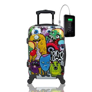 VALISE - BAGAGE Valise Bagage Cabine Trolley 4 Roues Rigide 55x35x