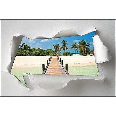 Sticker Trompe l/'oeil papier déchiré déco Vers la lumière réf 1389