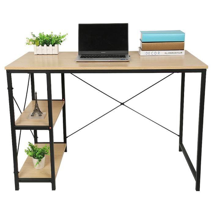 HEK Bureau Table d'ordinateur Portable Style Industriel avec 2 étagères Table Industrielle en Bois et métal