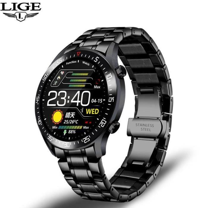Montre connectée,LIGE sport de luxe montre intelligente hommes IP68 étanche Fitness montre adapté pour Android ios - Type S black