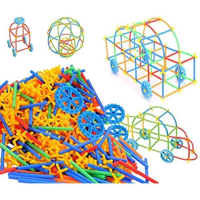 Jeu D'Assemblage LIXNS constructeur de paille tige construction jouets 350 pièce avec rouesconnecteurs ensembles de construction en