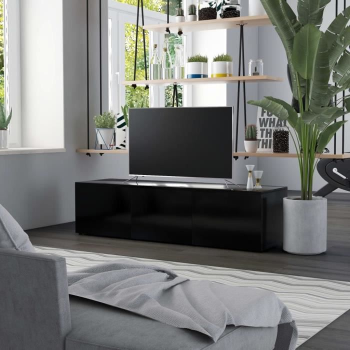 Meuble TV avec 3 tiroirs Aggloméré - 120 x 34 x 30 cm - Style contemporain - Noir