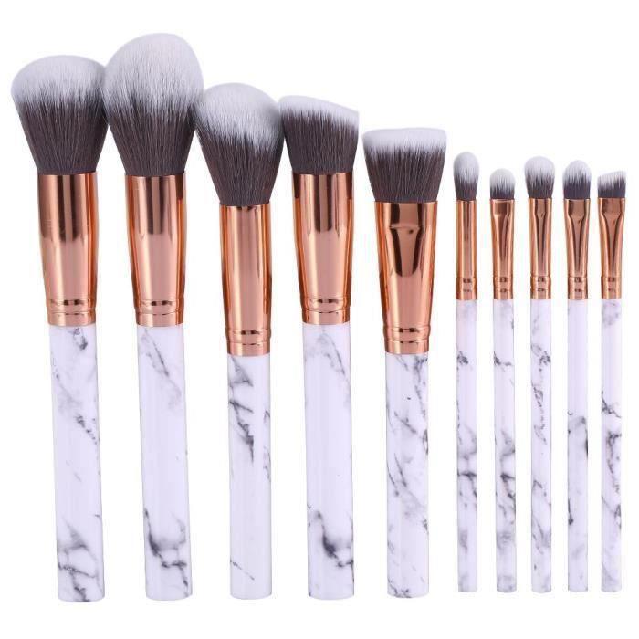10 pièces Marbre Motif Lot de pinceaux de maquillage Fond de teint Blush poudre Fard à paupières Estompeur Cosmétique Brosse kit (10