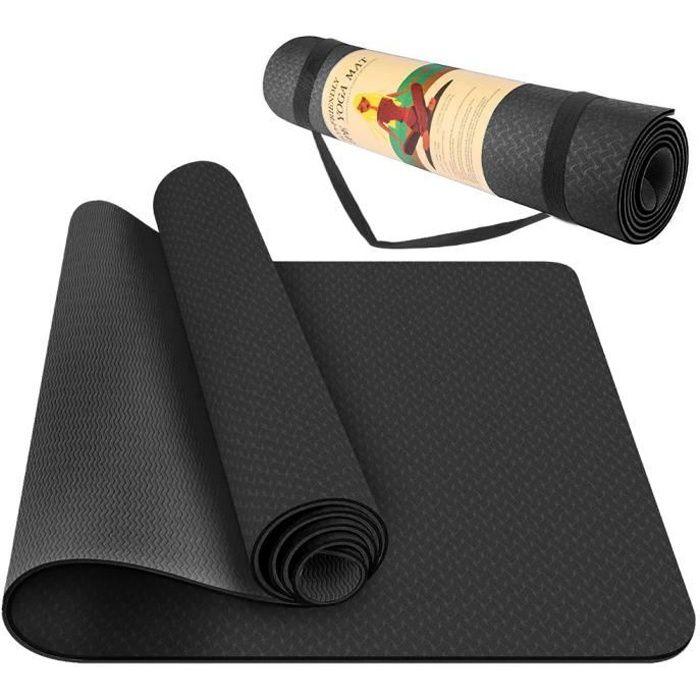 Tapis de Yoga Pro Classique 183*61*0.6cm Tapis de Fitness Antidérapant mat exercise noir