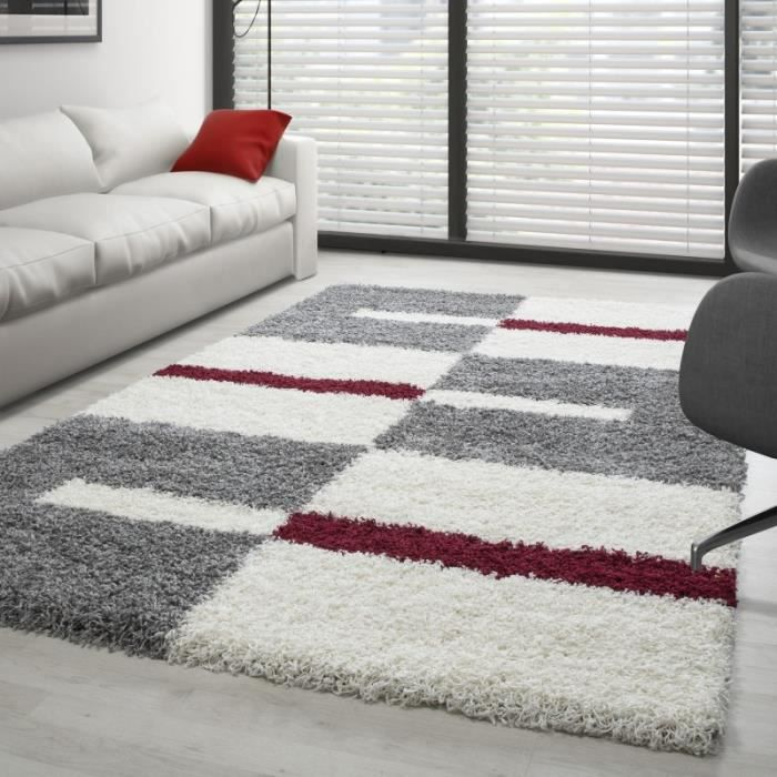 Tapis Shaggy designe pile longue (Gris-Blanc-Rouge - 80x250 cm)