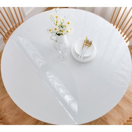 Protection de table -Crystal- toutes dimensions - Couleur: Protection de table rond 110 cm-Plateau rond 110 cm$Transparent