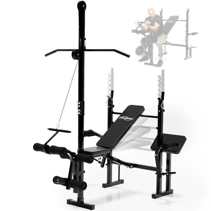 Physionics® Banc de Musculation Complet - Extension Jambe, Butterfly, Curl Pupitre, Poulie, Réglable - Station Multifonction